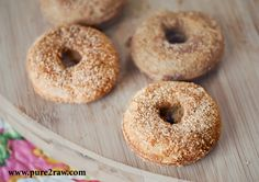 Baked Mini Gluten-Free Vanilla Cardamom Cake Donuts - coconut flour, baking soda, baking powder, sugar/xylitol/coconut sugar (might try with stevia), cardamom, eggs, coconut/other oil, water, cinnamon