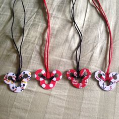 Mickey & Minnie Mouse handmade washer necklaces on a satin cord.  Great fish extender gifts!