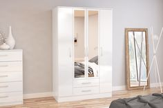 BIRLEA LYNX 4 DOOR 2 DRAWER WARDROBE WITH MIRROR, WHITE