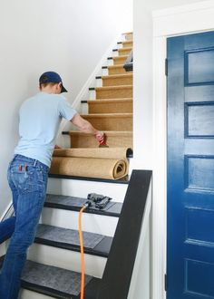 Looking for a way to revamp or restore your stairs? YellowBrickHome takes you step by step with them as they go through how to install a stair runner to the entryway of their home! Basement Stairs, House Stairs, Staircase Runner, Stair Runners, Stair Rug Runner, Stair Railing, Railings, Staircase Remodel, Staircase Makeover