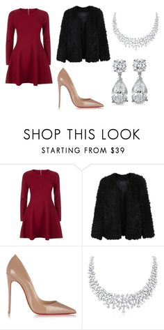 """christmas"" by projekttrool on Polyvore featuring moda, Apricot, LE3NO i Christian Louboutin"