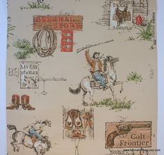 1950's Vintage Wallpaper Cowboy on a horse by HannahsTreasures