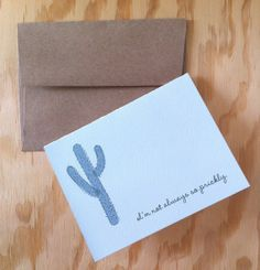 Cactus apology card A2 4.25 x 5.5 inches by HushandGael on Etsy, $5.00