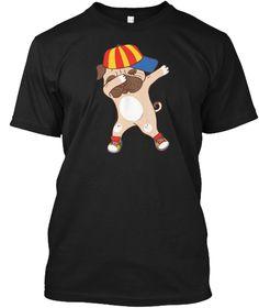 Dabbing Pug Shirt Dog Dab Tee Cute Black T-Shirt Front