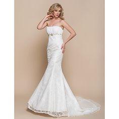 robe de mariée en dentelle de train de cour trompette ltbridal / sirène bustier (937264) – EUR € 48.17