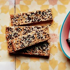 """These may puff slightly as they bake. For an extra crispy bar press the bars to flatten when they're still warm using another 8"""" square pan."""