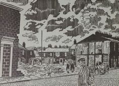 """ROGER HAMPSON (1925 - 1996) LINOCUT 'Clearance Area, Accrington' signed, titled and numbered 4/6, in pencil 12"""" x 16 1/2"""" (30.5 x 42cm)"""