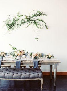 Our Farm dining table + a tufted ottoman | Blush, Peach & Blue Spring Wedding Ideas via Magnolia Rouge