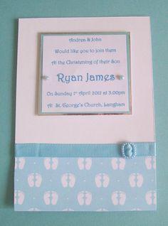 10 Handmade Personalised Christening Invitations #1 - Pink, Blue or Ivory £12.00