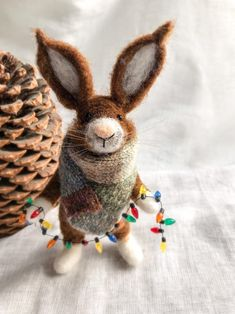 Excited to share this item from my shop: Needle Felted Hare animal brown colour holding Christmas lights and wearing a beautuful scarf Homemade Christmas Decorations, Christmas Gifts For Him, Thanksgiving Decorations, Christmas Crafts, Holiday Gifts, Needle Felted Animals, Felt Animals, Needle Felting, Wool Felting