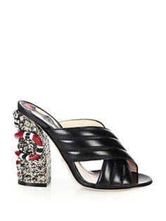 Gucci - Webby Galvanized-Heel Leather Mule Sandals...Cool heel!