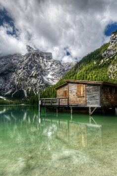 bluepueblo:  Boat House, Lake Braies, Italy photo by viasz