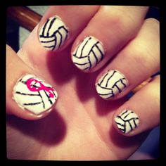 Volleyball nails by Emily.. dig pink game? I think yess! I would love this for my Dig Pink game(: