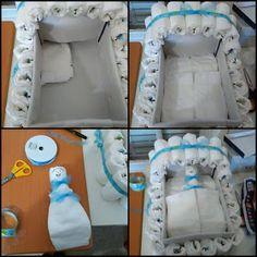 Life loidas: How to do: A bassinet diaper cake - Baby Diy - Diy Diapers, Baby Shower Diapers, Baby Boy Shower, Baby Showers, Baby Nappy Cakes, Diy Diaper Cake, Cake Baby, Diaper Cakes Tutorial, Diaper Bassinet