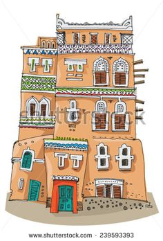 Traditional architecture in Sana'a, Yemen - cartoon