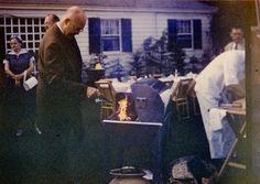 President Eisenhower grilling steak at Senator Margaret Chase Smith's home in Skowhegan, Maine.