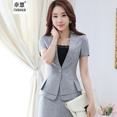 2016 New summer OL workwear women's skirt suits sets fashion female formal suit short-sleeve blazer jacket & skirt plus size > Nice plus size clothing shop for everybody Casual Work Outfits, Blazer Outfits, Professional Outfits, Work Attire, Korean Fashion Work, Work Fashion, Fashion Outfits, Jacket Dress, Blazer Jacket