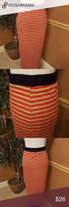 """ANTHROPOLOGIE Bailey 44 even stripe skirt. """"BAILEY 44"""" mid calf tube skirt in red and gray stripe. 1-3/4"""" black elastic waistband. Fully lined. Material is rayon and spandex. Length is 31"""". Laying flat waist is 14"""". Discounted due to missing inside material label. Bailey 44 Skirts"""