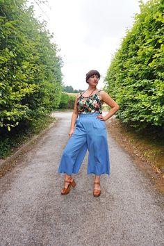 Megan Nielsen Flint Pants Lightweight Denim Culottes Battle-of-the-culottes Culottes Outfit, Battle, Sewing Patterns, Sisters, Autumn, Stitch, Denim, How To Wear, Pants