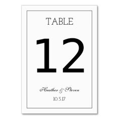 Classic Table Number Card