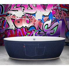 "Aquamass Dip Jea Plasticryl and Denim 70"" Freestanding Bathtub - Denim Jean Design"