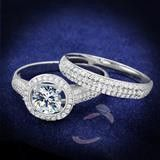 2CT Round Cut Solitaire Russian Lab Diamond Bridal Set Wedding Band Ring