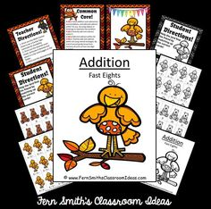 Addition Fast Eights - Autumn Buddies Themed - Quick and Easy Centers & Printables #TPT $Paid
