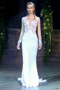 persy couture 2015 wedding dresses bridal off the shoulder sheer long sleeves lace v neckline bodice unembellished sheath gown