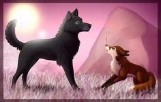 wolf fox drawings drawing cute anime animal illustration
