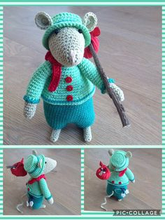 Dickensmuis van mevr.Knutsel. Knitting Patterns Free, Free Knitting, Cute Mouse, Mini Mouse, Crochet African Flowers, Homemade Dolls, Crochet Mouse, Felt Mouse, Toys
