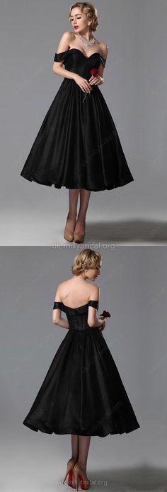 Black Prom Dresses,Short Prom Dresses for Girls,Satin Prom Dresses Off-the-shoulder, Ball Gown Prom Dresses Tea-length Draped,2018 Homecoming Dresses For Cheap,Elegant Cocktail Dresses For Teens