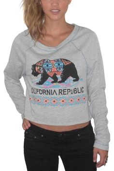 Project Social T California Republic Long Sleeve Cropped Top