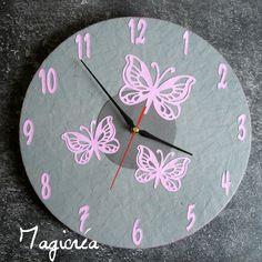 horloge sur vinyl 33 tours papillons gris et rose pour la chambre d 'une petite fille sur commande : magicrea@laposte.net