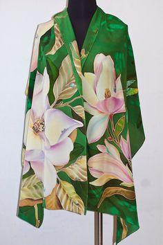 Hand Painted Silk Shawl Green Shawl Magnolia and by SilkWonder