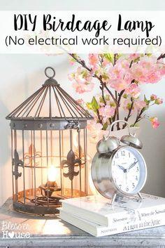 DIY Birdcage Lamp in