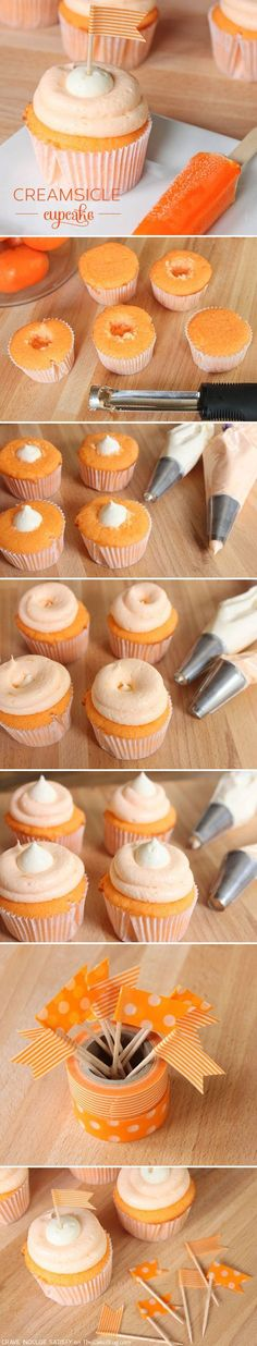 Creamsicle Cupcake Recipe - looks amazing! step by step directions.