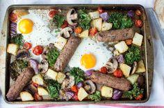 Sausage, Egg & Vegetable Breakfast Tray Bake - Kay's Kitchen Baked Eggs, Baked Potato, Breakfast Tray, Sausage And Egg, Cherry Tomatoes, Tray Bakes, Kale, Cobb Salad, Stuffed Mushrooms