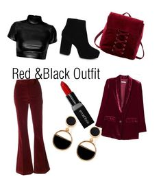 """""""Red & Black Outfit"""" by daniela-paulica on Polyvore featuring Charlotte Russe, Prada, MANGO, ALDO, Warehouse and Smashbox"""