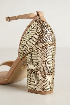 sparkly gold heels - anthropologie