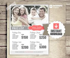 Family Photography Package Pricing - Photographer Price List - Marketing - Photoshop Template Photography Packages - INSTANT DOWNLOAD