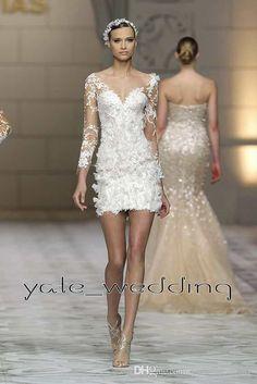 9ed1e5c3aa61 2016 Sexy Short Lace Wedding Dresses V Neck Illusion Long Sleeves Sheath  Custom Made Summer Beach