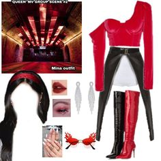 Kpop Fashion Outfits, Stage Outfits, Fashion Vocabulary, Dress Codes, Kpop Girls, Girl Group, Leather Jacket, Red, How To Wear