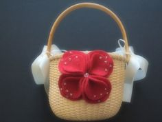 Flower Girl Basket Wedding Red Camelia Flower by ArtisanFeltStudio, $25.00