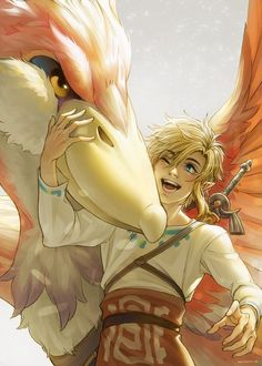 "whispyart: ""Link and his loftwing "" Skyward Sword Link, Zelda Skyward, Breath Of The Wild, Zelda Wallpaper, Link Zelda Costume, Zelda Drawing, Zelda Anime, Image Zelda, Zelda Twilight Princess"