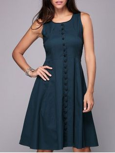 Vintage Sleeveless Single-Breasted Pure Color Women's Knee-Length Dress