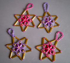 Rice beads stars from www.glitterwitch.co.uk Wax, Rice, Crafting, Decor Ideas, Christmas Ornaments, Stars, Holiday Decor, Christmas Jewelry, Crafts To Make