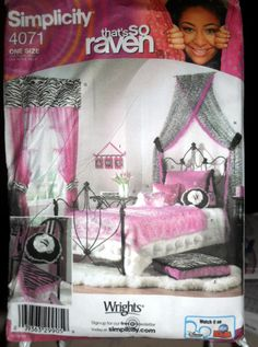 Bedroom accessories for teen in zebra print and pink Simplicity 4071 UNCUT. $2.00, via Etsy.