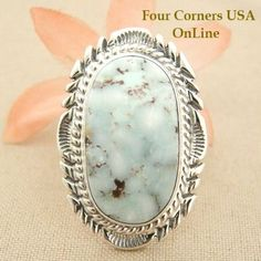 Four Corners USA Online Native American Artisan Jewelry - Elongated Dry Creek Turquoise Stone Ring Size 8 1/4 Thomas Francisco Native Indian Silver Jewelry NAR-1432, $192.00 (http://stores.fourcornersusaonline.com/elongated-dry-creek-turquoise-stone-ring-size-8-1-4-thomas-francisco-native-indian-silver-jewelry-nar-1432/)