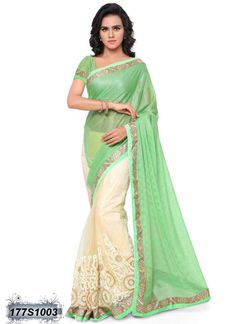 Ravishing Green and White Coloured Soft Net Casual saree