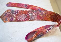 Handcraft tie Hand Painted Silk Tie Gold Multicolour Silk Tie